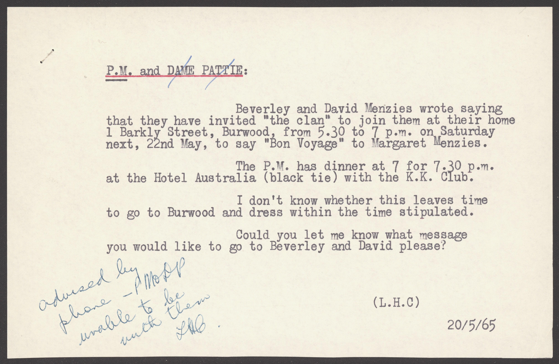 A note to Sir Robert Menzies from his secretary, Hazel Craig