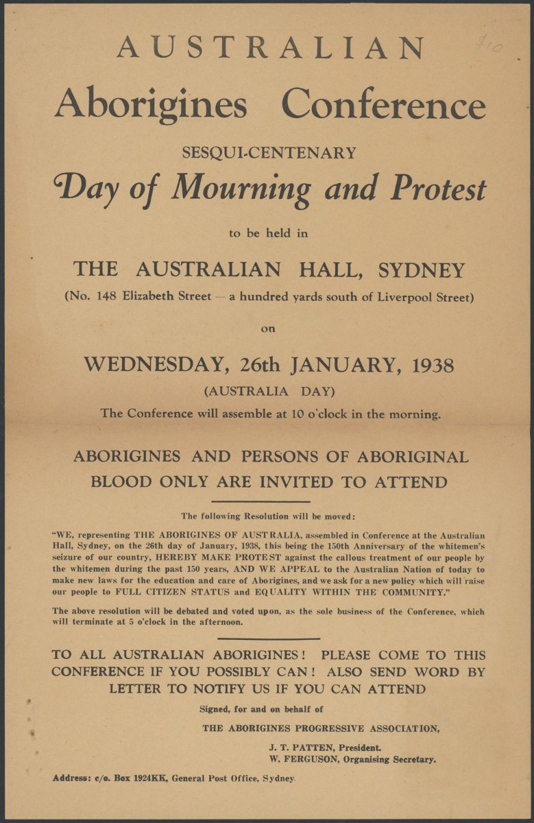 Australian Aborigines Conference: sesqui-centenary Day of Mourning and Protest