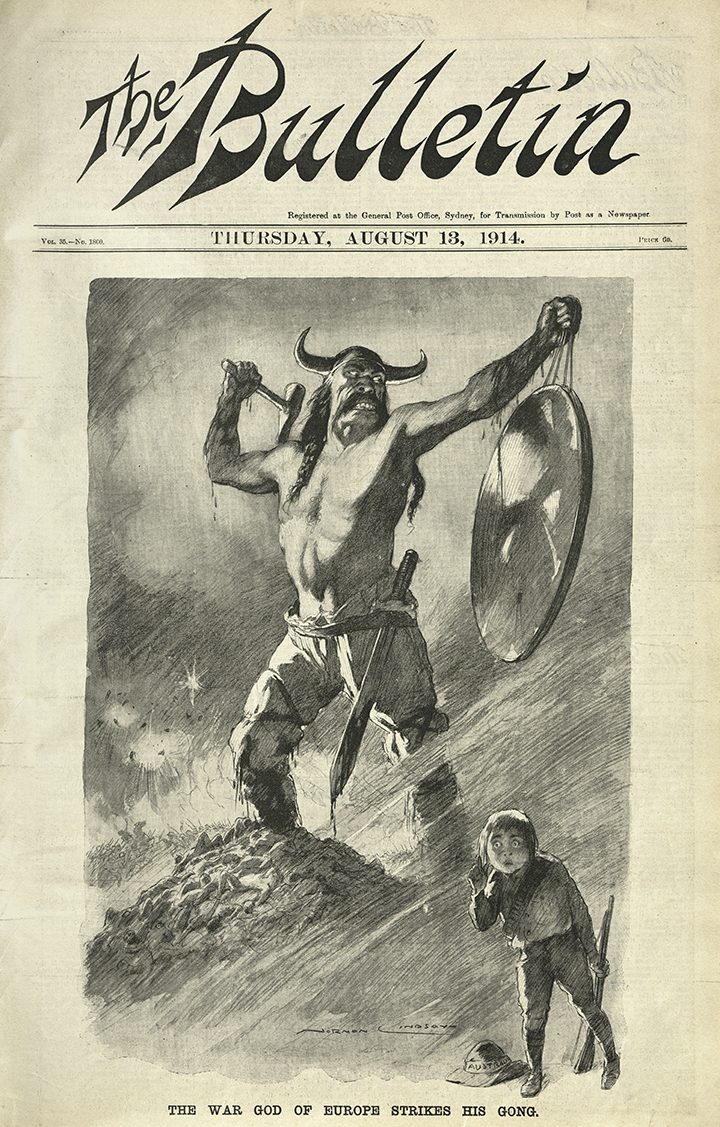 Norman Lindsay, 'The War God of Europe Strikes His Gong', The Bulletin, 13 August 1914, nla.obj-656514464, courtesy Norman Lindsay Estate