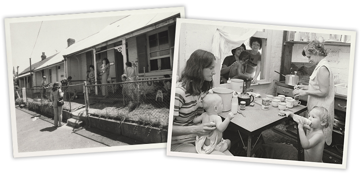 Australian Information Service, Mothers and their Children outside the Elsie Women's Refuge Shelter for Women, Sydney, 1975, nla.cat-vn6185236; Australian Information Service, Mothers and their Infants in the Kitchen of Elsie Women's Refuge Shelter for Wo