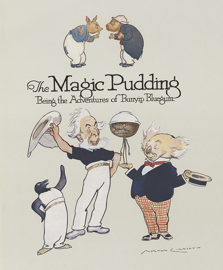 Publisher's Brochure for The Magic Pudding: Being the Adventures of Bunyip Bluegum by Norman Lindsay, (Sydney: Angus & Robertson, 1918), nla.cat-vn1274760, Courtesy H., C. and A. Glad