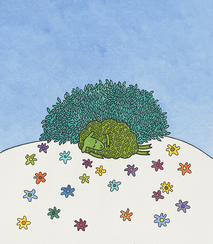 Judy Horacek, Artwork for 'Where is the Green Sheep?' by Mem Fox and Judy Horacek (Sydney: Penguin Random House Australia, 2004), in Papers of Judy Horacek, nla.cat-vn4838339, Reproduced by permission of Penguin Random House Australia Pty Ltd