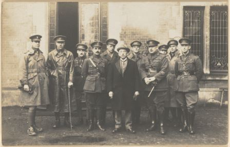 Prime Minister Billy Hughes with a group of Australian officers of the Australian Imperial Force, France, 1919. Guy Herwald Parker's personal photograph album, World War I, 1914-1918 [picture], nla.pic-an10887200-s57-b1-v
