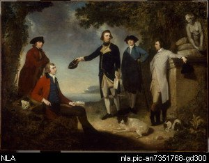 painting of Captain James Cook, Sir Joseph Banks, Lord Sandwich, Dr Daniel Solan
