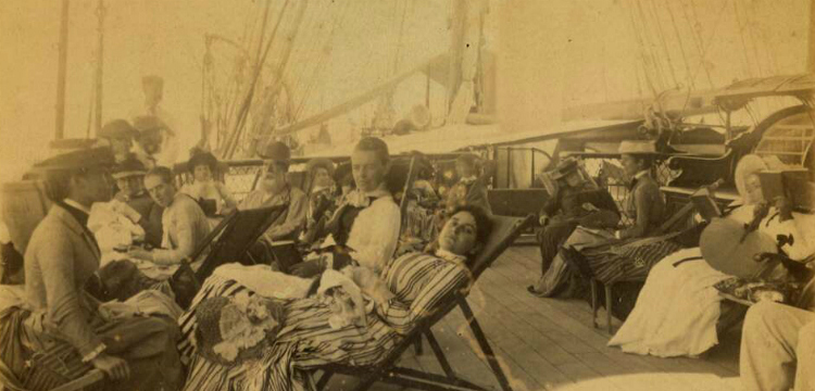 Ship passengers relaxing on deck, 1870 - 1900