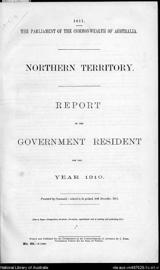 Report of the Governnment Resident for the year 1910
