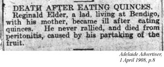 Death after eating Quinces, Adelaide Advertiser, 1 April 1908