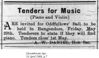 Tenders for Music, Queanbeyan Age, 14 April 1908