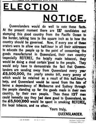 election notice, Brisbane Courier Mail, Feb 1908