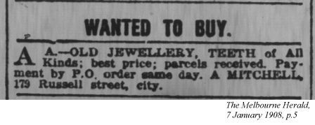 wanted to buy: jewellery, teeth of all kinds: excerpt from the Melbourne Herald, 1908