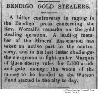 Bendigo Gold Stealers - snippet from Mt Magnet Miner and Lennonville Leader, 1908
