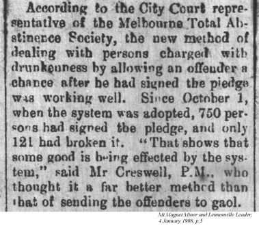 snippet about Melbourne abstinence society, in Mt Magnet Miner and Lennonville Leader, 1908