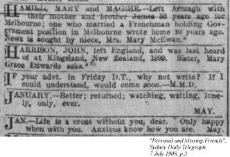 Personal and Missing Friends, Sydney Daily Telegraph, 7 July 1908