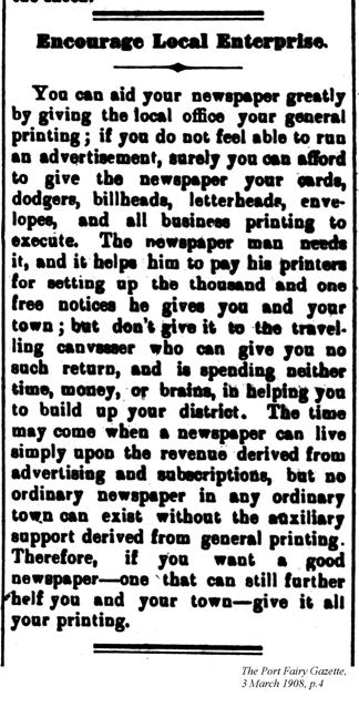 Encourage local enterprise, Port Fairy Gazette, 3 March 1908