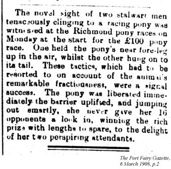 Pony races, Port Fairy Gazette, 6 March 1908