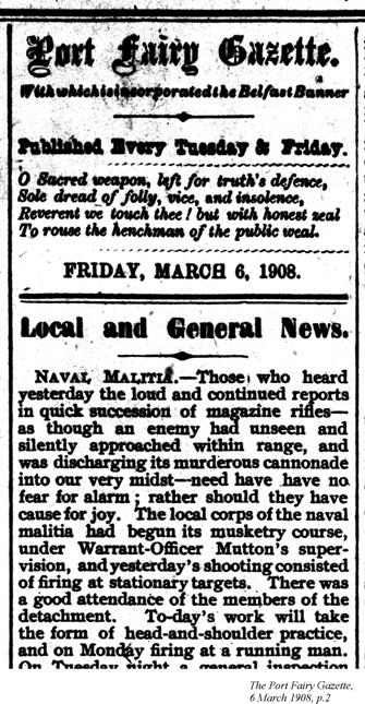 Local and General news, Port Fairy Gazette, 6 March 1908