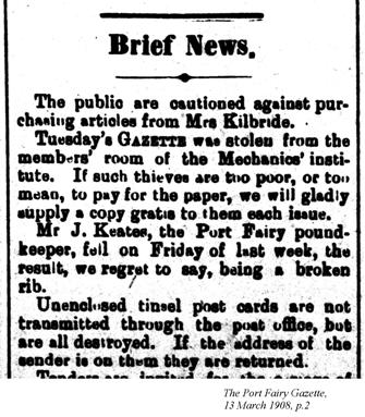 Brief news, Port Fairy Gazette, 13 March 1908