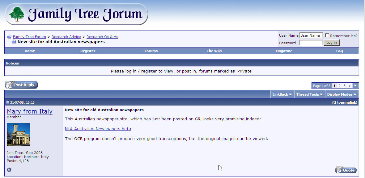 Screen shot of the Family Tree Forum website