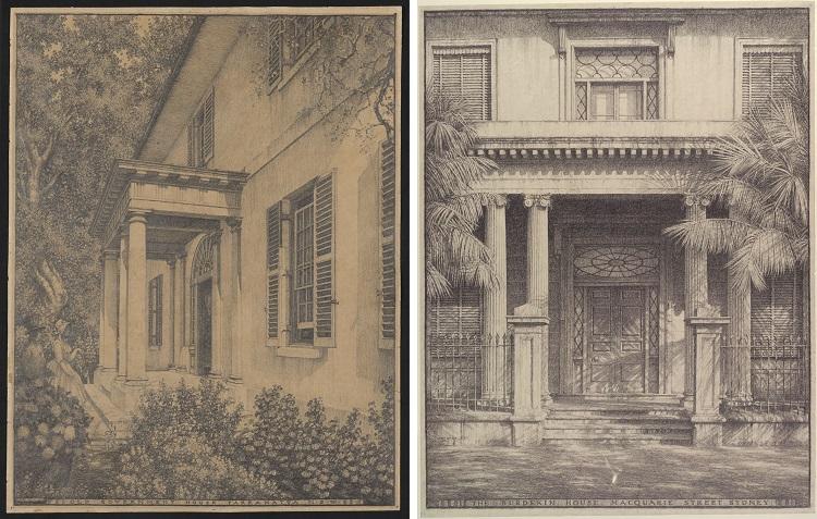 Pencil drawings of building facades