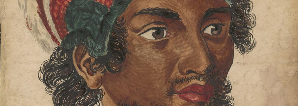Watercolour painting of a Hawaiian man