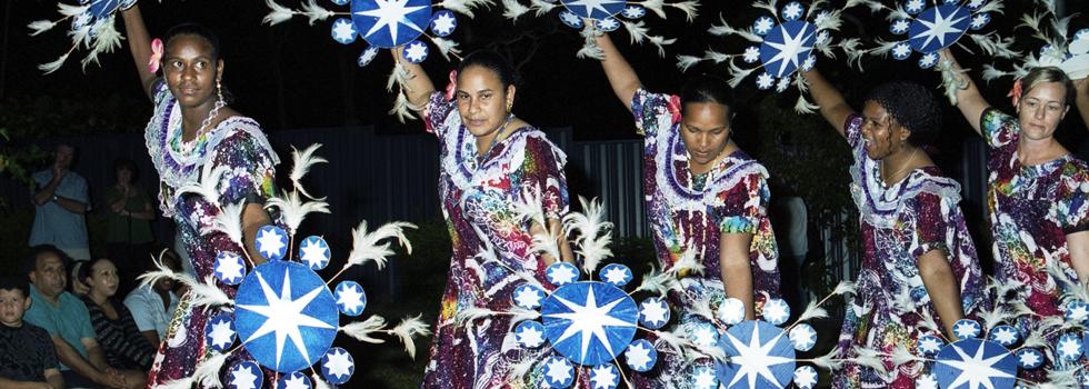 Five female members of the Arpaka Dance Group performing