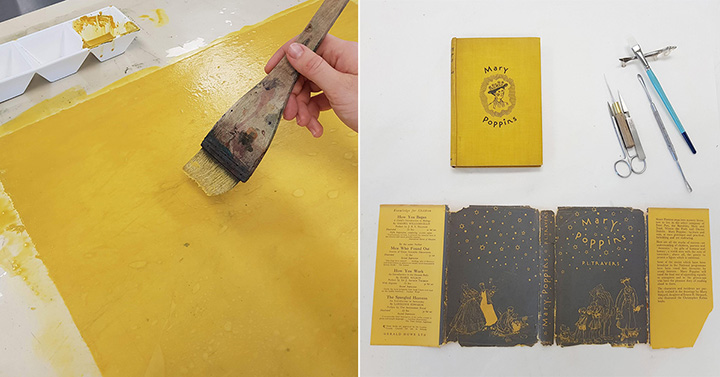 Toning Japanese paper and a Japanese brush with yellow acrylic paint to match the yellow dust jacket, treatment of the dust jacket by conservator, Freya Merrell, using wheat starch paste and Japanese tissue paper.