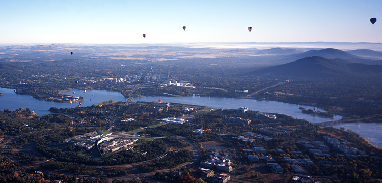 Aerial panorama of Canberra, including Parliament House