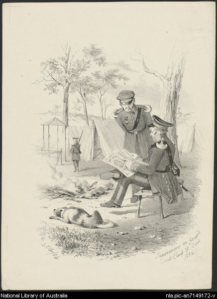Pensioners on guard, Comms. Camp, F. [i.e. Commissioner's Camp, Forest] Creek, 1852 [picture]