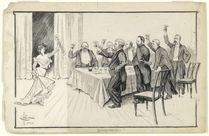 ink drawing of a woman standing at one end of a dining table, holding aloft a piece of paper with 'franchise' written on it. Seven men stand around the table, dressed in dinner suits, toasting the woman with champagne glasses.