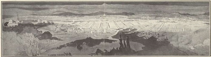 Pencil drawing of the Griffin plan for Canberra, as it would have been viewed from Mount Ainslie, showing trees in the foreground and Parliament House at the horizon