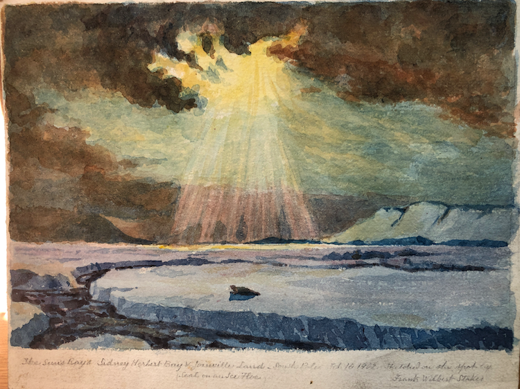 A watercolour painting of Antarctica  with ice caps and land underneath a colourful sunset
