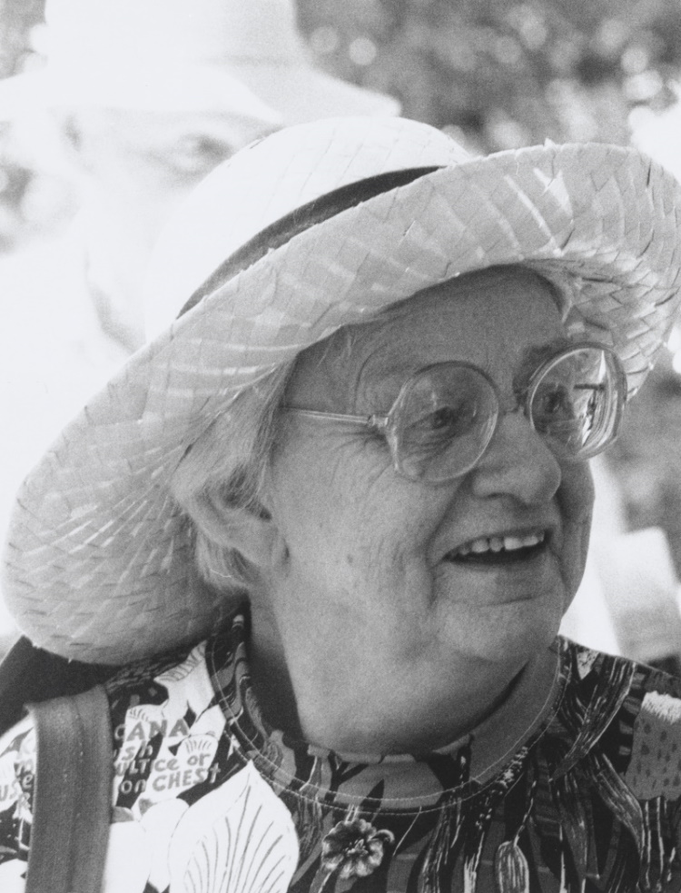 Black and white photo of Judith Wright