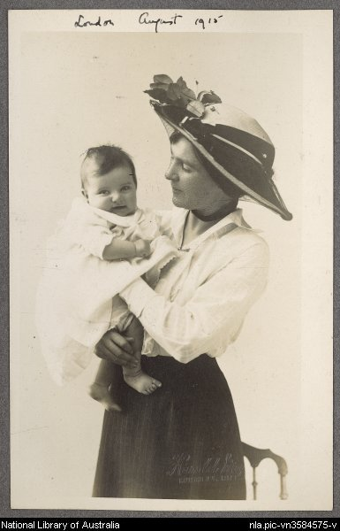 [Portrait of Nettie Palmer with baby Aileen, August 1915]