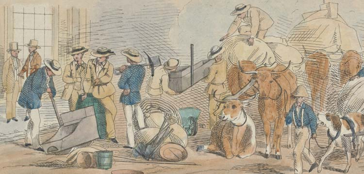 Drawing of preparations for gold mining
