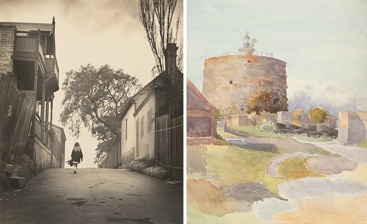 sepia photograph of young girl walking up street in 1910 and watercolour painting of Fort Denison, Pinchgut, c.1905