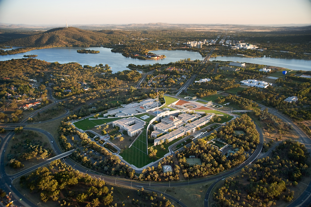 Aerial photograph of Parliament House, Canberra