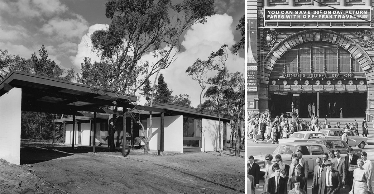 First house at Glen Waverley, Victoria, 1968 and Intersection of Swanston and Flinders Street, Flinders Street Station, Melbourne, 1964