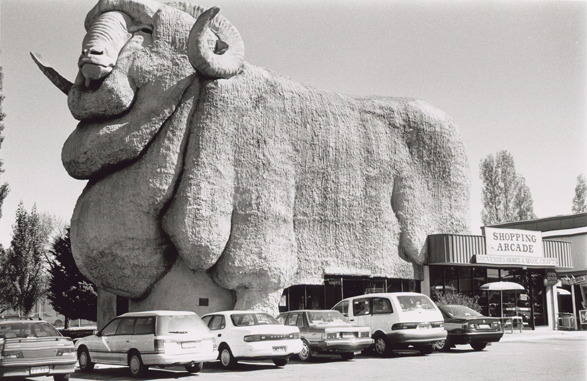Black and white photograph of the Big Merino sculpture in Goulburn New South Wales, taken in 1994 by Joyce Evans
