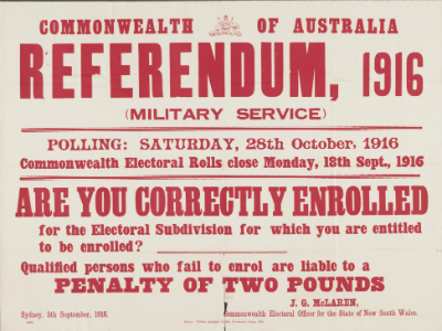 Broadside for the 1916 military service referendum