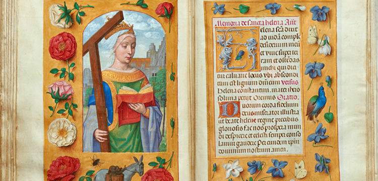 St Helena and prayer to St Helena in the Rothschild Prayer Book c. 1505-1510 fols 233v-234r, Kerry Stokes Collection, Perth