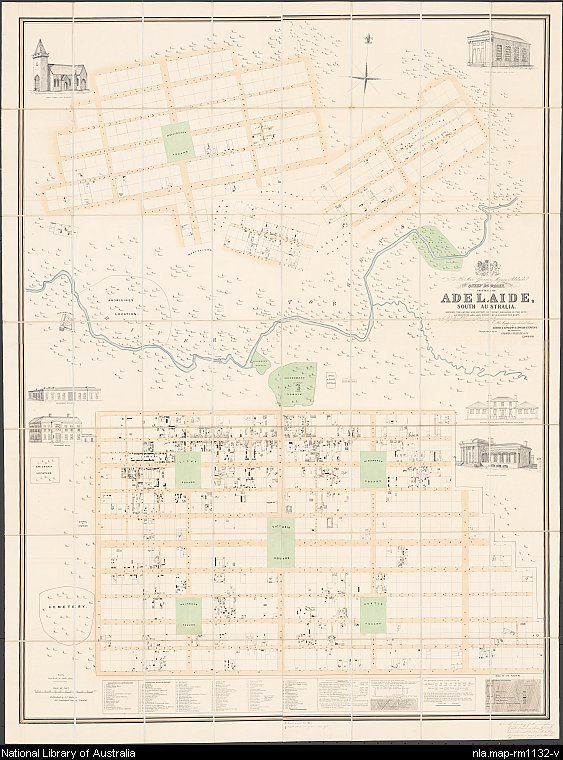 Map of Adelaide, South Australia, 1842