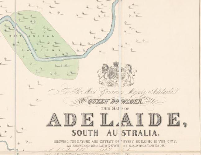 Map of Adelaide, South Australia, 1842