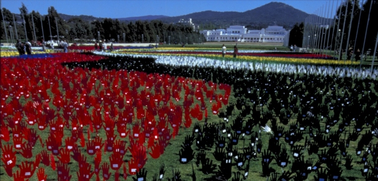 Loui Seselja, Sea of Hands protest on the lawns of Parliament House, 12 October 1997 [2], nla.cat-vn727832