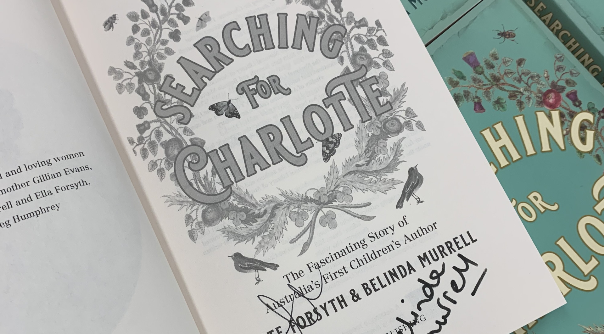 Inside front page of new NLA Publishing book Searching for Charlotte with author signatures