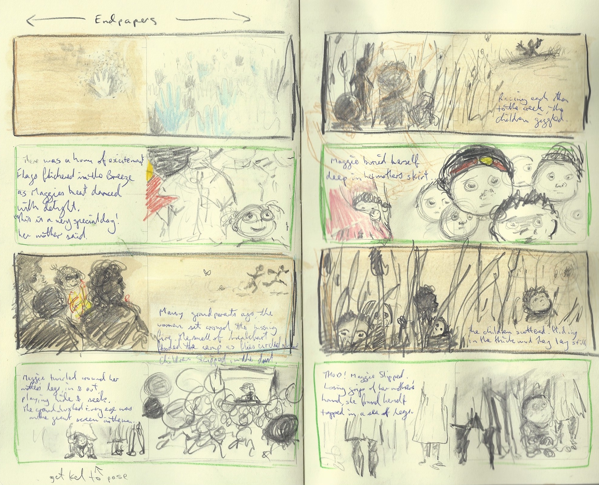 Dub Leffler's Storyboard illustrations for Sorry Day