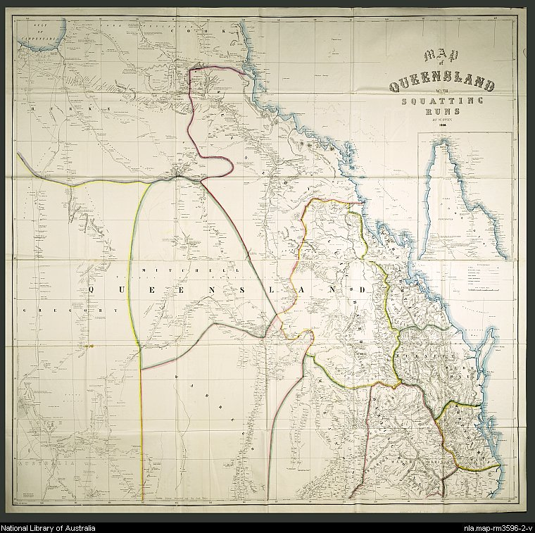Map of Queensland divided into 14 land districts, with detail of individual squatting runs. Land district borders and coastline are hand-coloured.