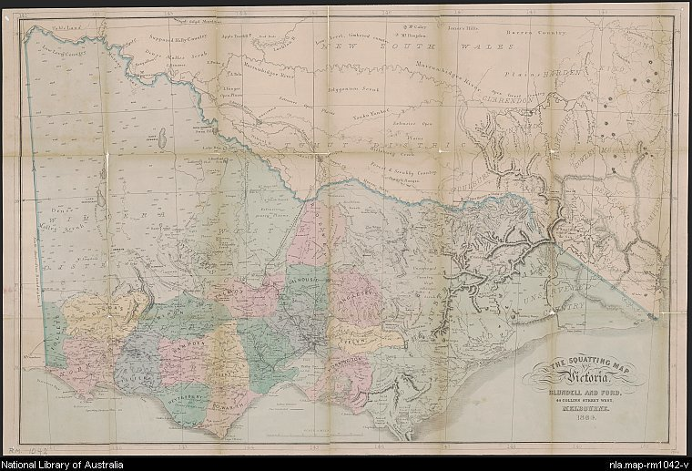 coloured map of Victoria showing counties, road and rail lines, settlements and subdivisions. Map has been dissected and backed on linen.