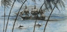 Drawing of a sailing ship near an island with dolphins and birds