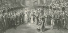 Painting of Queen Victoria arriving at the House of Lords to open the first parliament of her reign