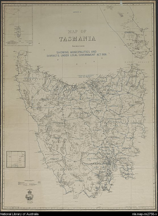 Map of Tasmania showing municipalities and districts under Local Government Act 1806